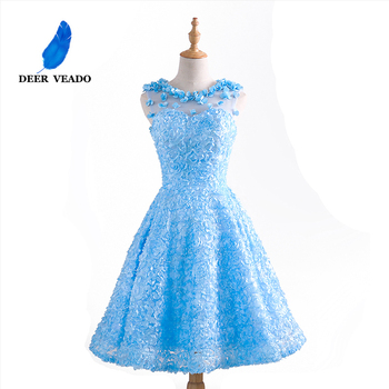 DEERVEADO T424 A-Line O-Neck Short Prom Dresses Sexy See Through Back Formal Party Dresses Women Prom Gown 4 Colors
