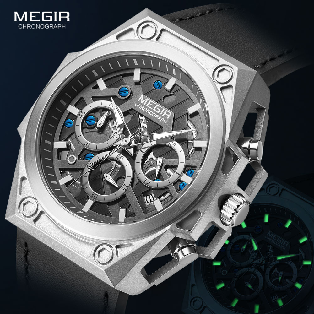 MEGIR stainless Steel Watches Men 2020 Luxury Brand Military Sports Wristwatch Leather Strap Chronograph Quartz Watch Waterproof