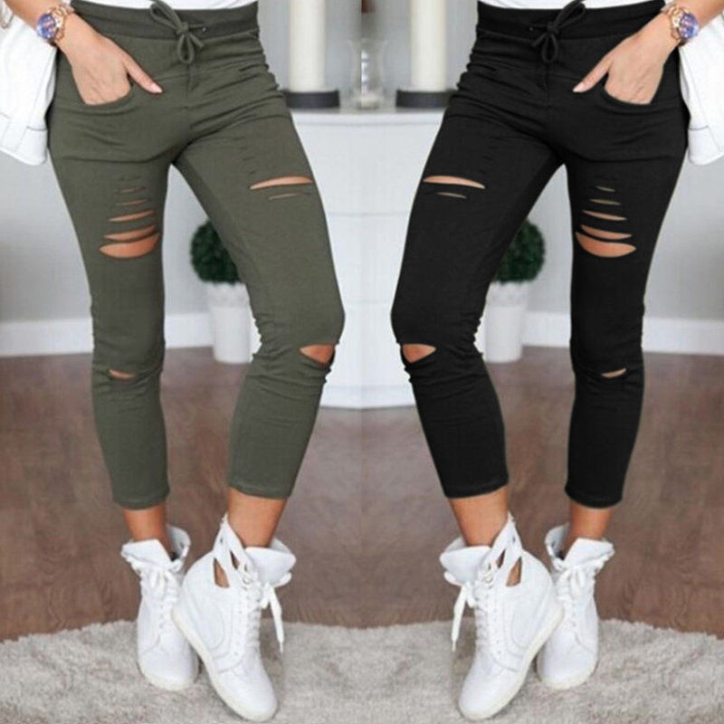 AVODOVAMA M Skinny Jeans Women Denim Pants Holes Destroyed Knee Pencil Pants Casual Trousers Black White Stretch Ripped Jeans