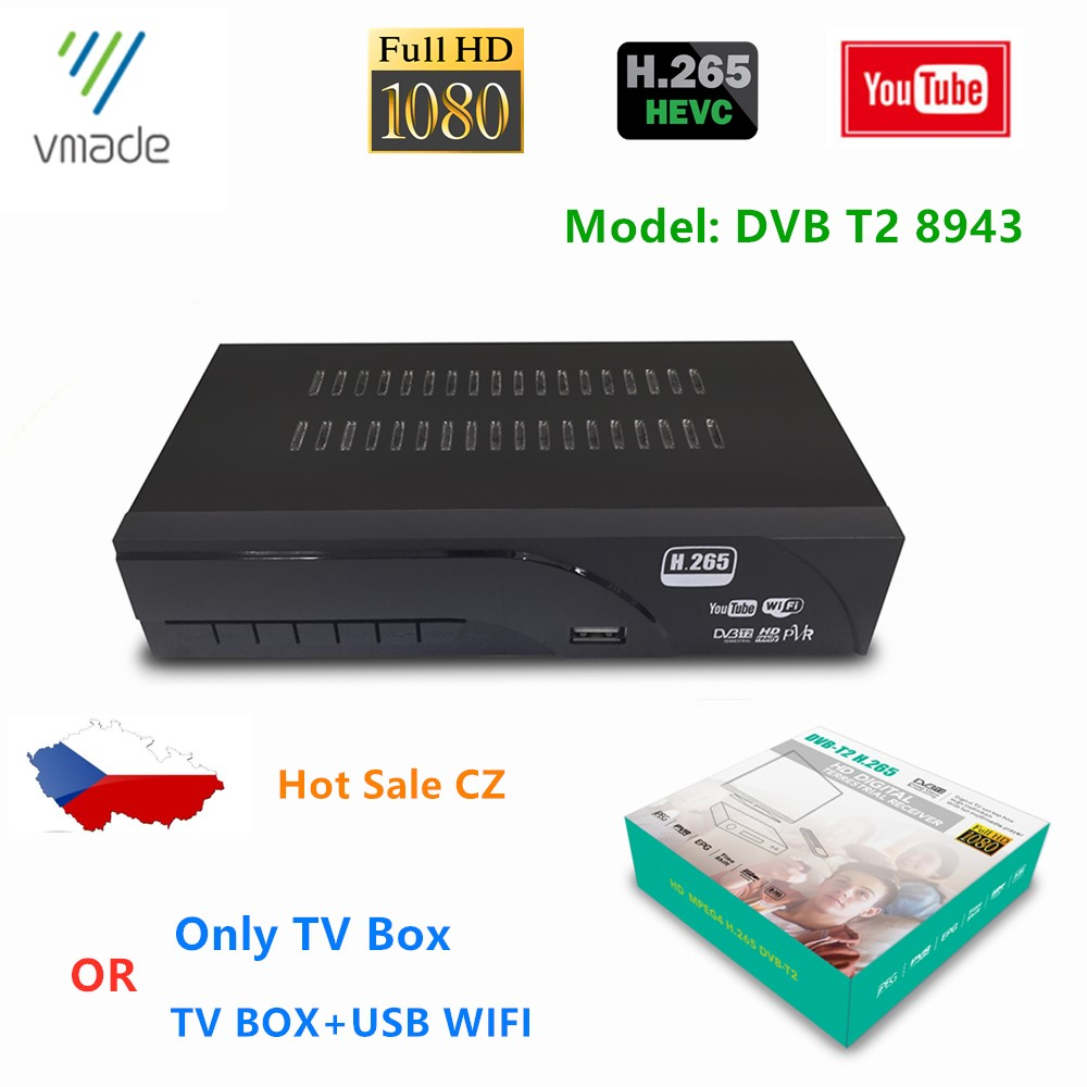 Hot Sale Europe Czech Republic Fully HD1080p DVB T2 Decoder Support YouTube H.265/HEVC Set Top Box DVB T2 TV 8943 Receiver Tuner