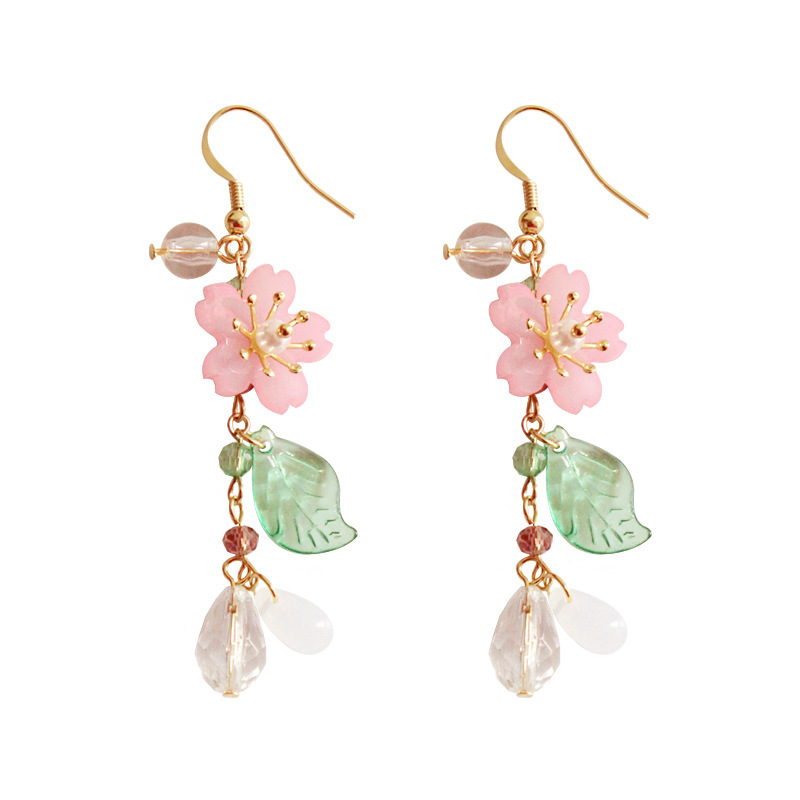 2019 Fashion Pink Cherry Blossom Green Leaf Drop Earrings For Women Gril Wedding Party Jewllery Gift
