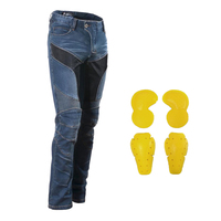 Blue Motorcycle Racing Jeans Pants with 4pcs Armor Knee Hip Protection Pads Motocross Racing Pants Protective Jeans Trousers XL