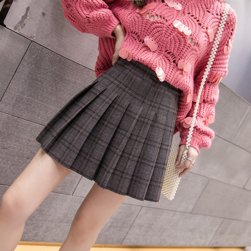 Womens Plaid Streetwear Black High Waist Harajuku Clothing Fashion Skirt 2019 The New Autumn Winter Elastic Force Pleated Skirt