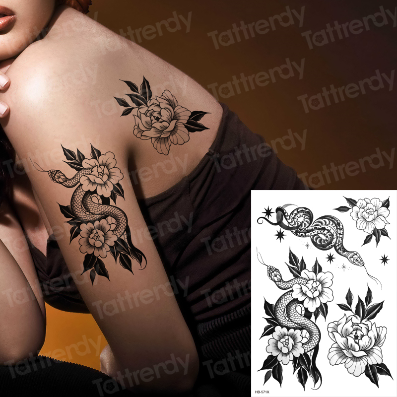 Temporary Back Tattoos Black Snake Flower Sex Tattoo For Woman Girls Stretch Tattoo Designs Body Stickers Water Transfer Decal