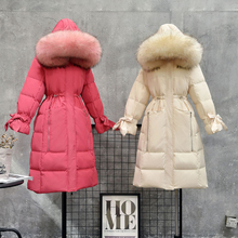 Large Real Raccoon Fur Collar 2020 Winter Warm Hooded Jacket Long Down Parkas 90% White Duck Down Coat Female Thick Snow Outwear