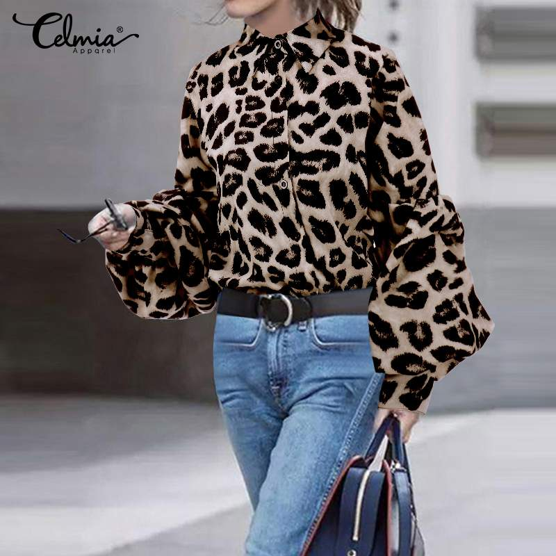 Top Fashion Celmia 2019 Women Autumn Lantern Sleeve Shirts Sexy Leopard Print Blouses S-5XL Female Buttons Casual Loose Blusas 7