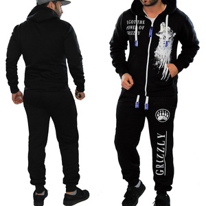 ZOGGA Brand Mens Jogger Sets Casual 2 Piece Set Tops with Pants Sweat Suit Print Black White Men Outfits Fashion Tracksuit man