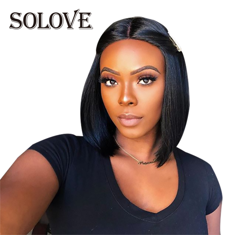 13x4/13x6 <font><b>Lace</b></font> Front <font><b>Wigs</b></font> <font><b>10A</b></font> 150%/180%/200% Density Brazilian Straight Remy Hair Natural Black Short Bob <font><b>Wigs</b></font> image