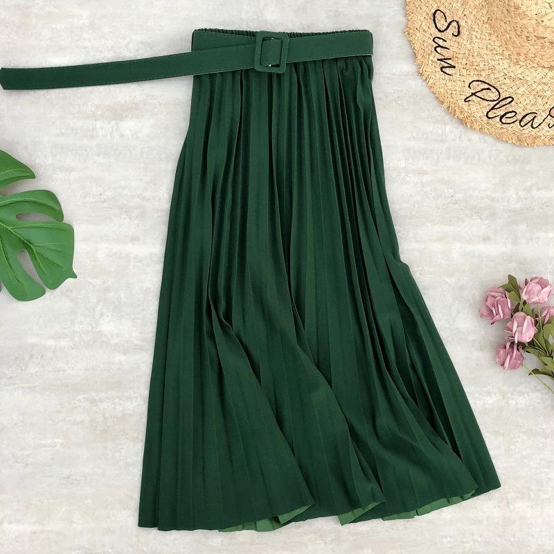 FairyShely 2020 Summer Vintage Chiffon Pleated Long Skirt Women High Waist Midi Skirt Korean Black Elastic Belt Skirts Womens