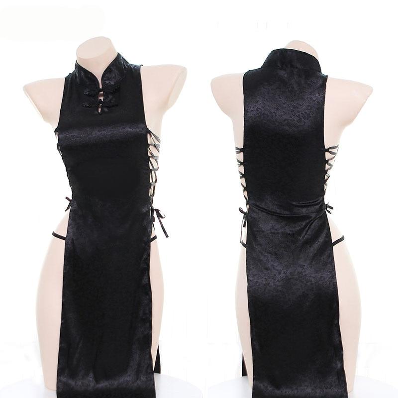 Women Black Bandage Hollow Out Cheongsam Pajamas Young Girl Classical Nightdress Both Sides High Split Sexy Sleepwear Cosplay