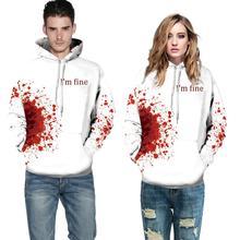 Хэллоуин унисекс длинный рукав кровавый цифровой принт свободный пуловер блузка худи