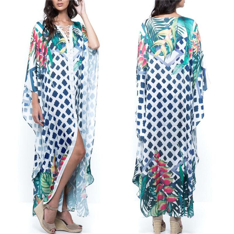 2020 Quick drying Bikini Cover ups Bohemian Geometric Printed Summer Beach Dress Green Cotton Tunic Women Swimwear Cover Up Q994Cover-up   -