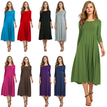 Autumn Spring Women Ladies Mid Sleeve Long Dress Crew Neck Solid Color Big Hem Plus Size One Piece Suit Female Payty Casual Wear