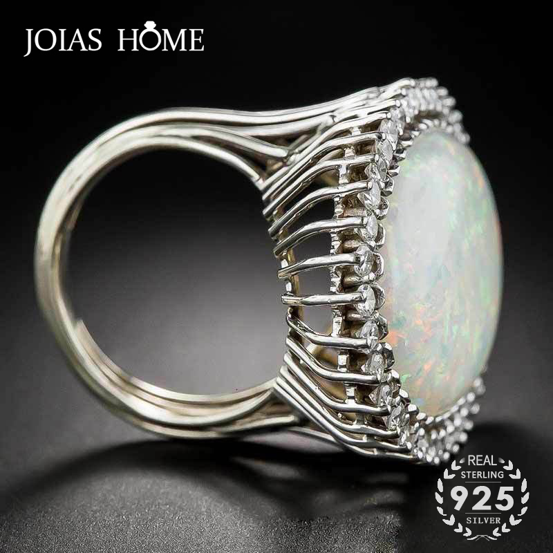 JoiasHome Trendy Silver 925 Jewelry Ring Oval Shape Opal Zircon Gemstone Rings for Women Wedding Party Gift Wholesale size 6-10