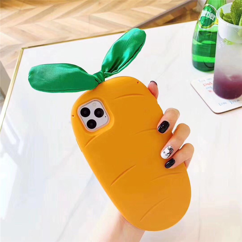 Phone case for iphone 11 pro max 3D Cute Radish shape Silicone shell cover for iphone X XS MAX XR 7 8 6 6S PLUS FUNDA