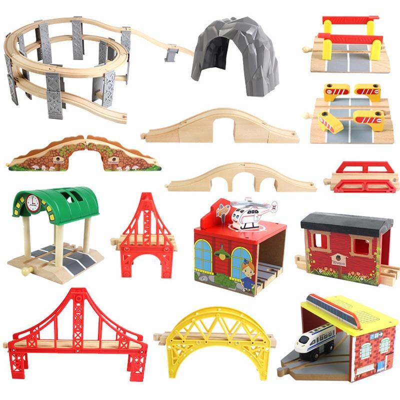 Деревянный шлейф из бука, железная дорога, мост, туннели, аксессуары, подходят для Brio, деревянные шлейфы, обучающие игрушки для детей, подарк...