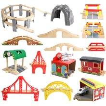Vías de tren de madera de haya para niños, accesorios de túnel de puente de ferrocarril, piezas de tren de madera para Brio, juguetes educativos para niños, regalos