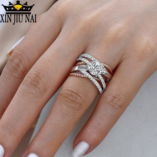 925 Silver AAA Zircon Luxury CUrve Intersection Female Crystal Round Stone Ring Engagement Ring Vintage Party Rings For Women(China)