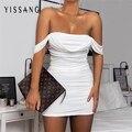 Yissang 2021 летнее Сетчатое Бандажное платье с открытыми плечами, женские облегающие вечерние платья с рюшами без бретелек, сексуальное мини-пл...