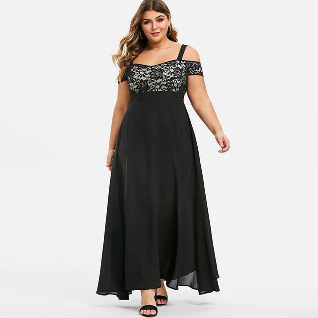Womens Dress Plus Size Cold Shoulder Floral Lace Maxi Party Evening Camis Long Dress Elegant Dresses Vestidos Verano 2020 Mujer