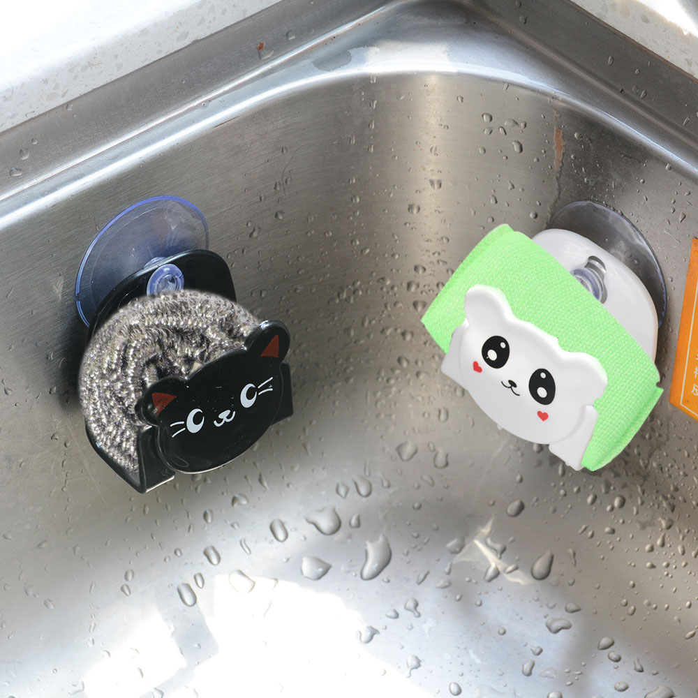 1PCS  With A Suction Cup Cartoon Dish Sponge Wearing Kitchen Multi-function Receive Hangers Table Kitchen Receive Frame