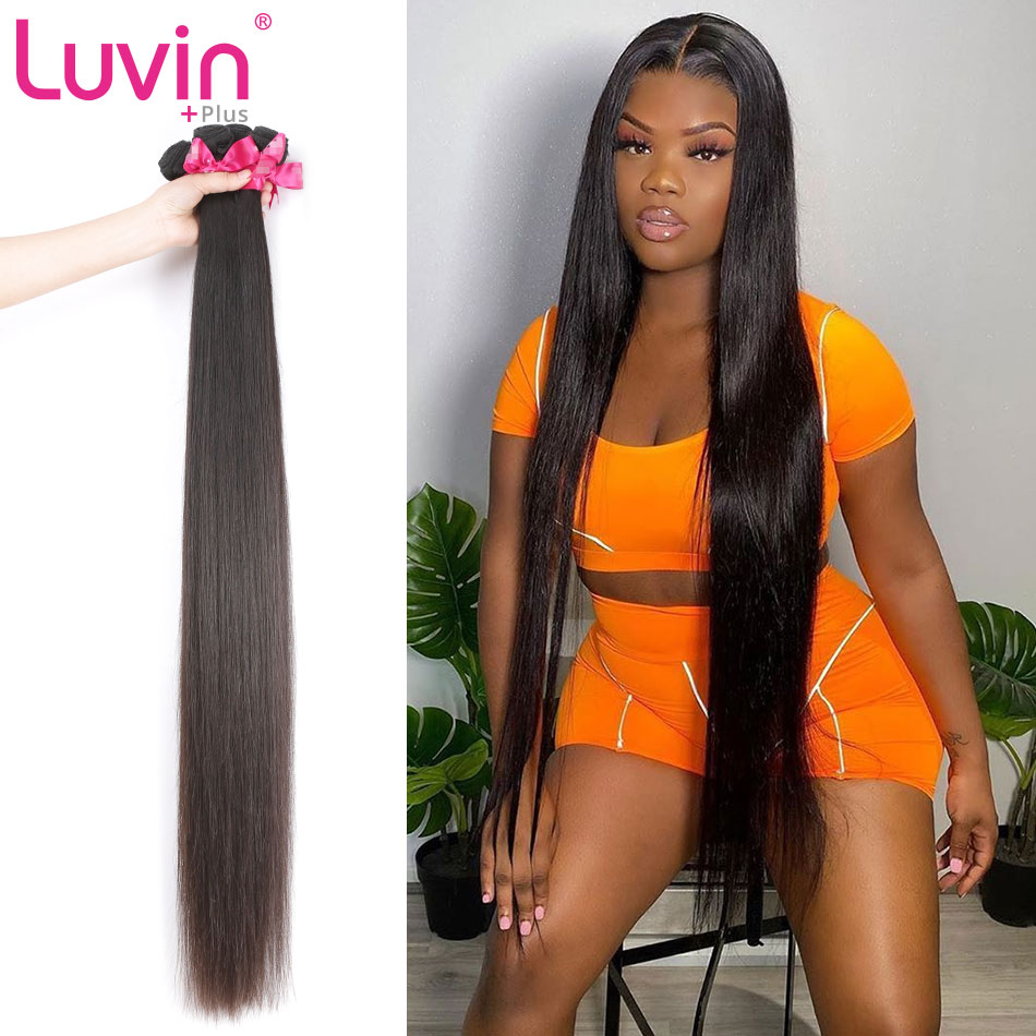 <font><b>Luvin</b></font> OneCut <font><b>Hair</b></font> Straight 8-40 28 38 Malaysian Weave Bundles 100% Human <font><b>Hair</b></font> 3/4 Bundles Natural Color Remy <font><b>Hair</b></font> Extensions image
