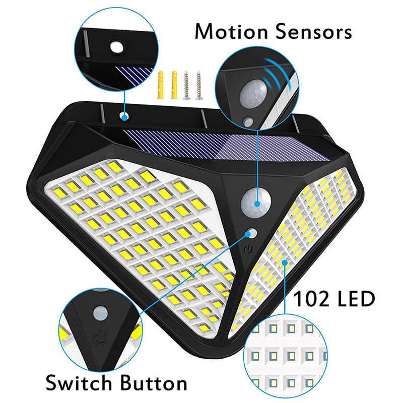 102 ไฟ LED กลางแจ้งพลังงานแสงอาทิตย์ Motion Sensor กันน้ำความสว่างโคมไฟสำหรับ Backyard ตกแต่งสวนไฟ
