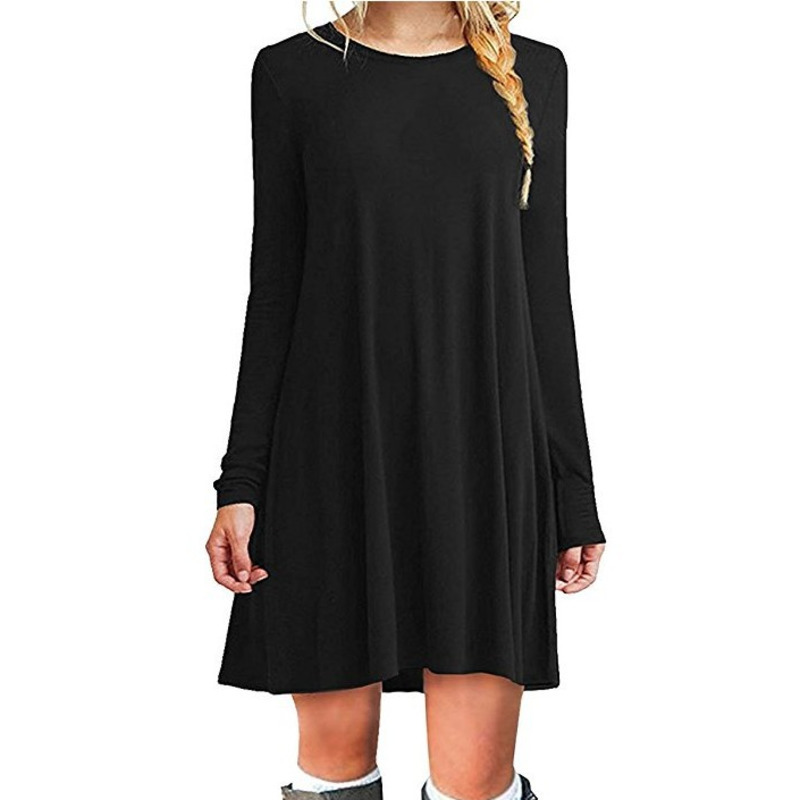 US $7.8 50% OFF|Long Sleeve Dress Plus Size Women Casual O Neck Pleated  Basic T Shirt Dress Black Blue Violet Ladies Dresses Spring Autumn 2019-in  ...