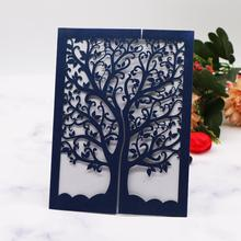 Dark Blue Wedding Invittaion Cards 50pcs Free Shipping,Hollow Laser Cut Kit With Pearl Envelope Invitations ,Tree Pattern Design j c hollow square design emerald cut amethyst pink