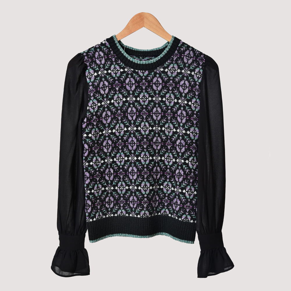 19 Crepe Bubble Sleeve Splicing Contrast Color Round Neck Jacquard Knitting Shirt Top 91096