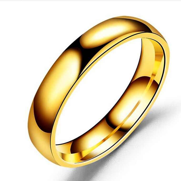 Anel de casamento para homens, anel clássico de aço inoxidável e preto, joia masculina