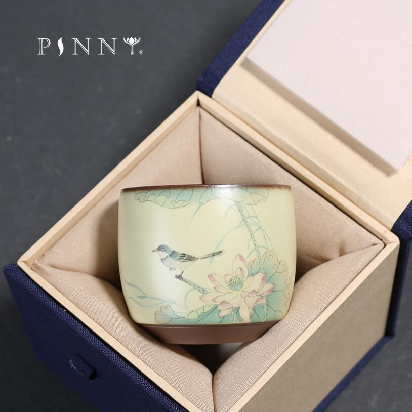 PINNY 75ml exquis peint à la main oiseau thé thé traditionnel chinois poterie grossière tasse à thé en céramique Kung Fu bol à thé