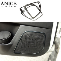 Carbon fiber color stainless steel Door Speaker Audio Ring Cover trim fit For Ford Focus MK3 RS ST 2012 2018