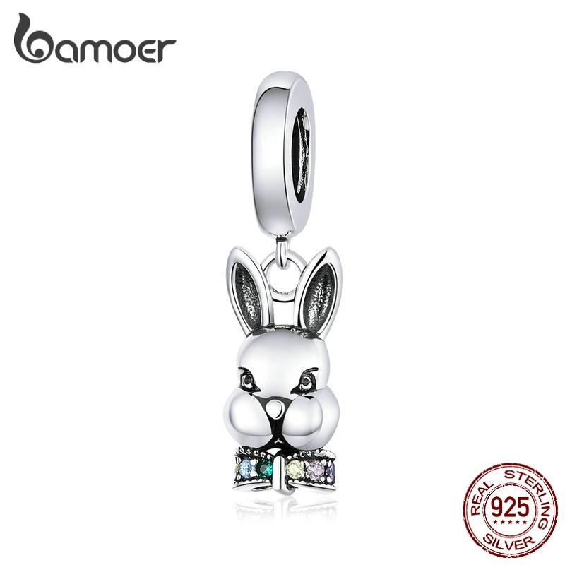 Colgante bamoer Mr. Rabbit, abalorio para pulsera de plata de ley 925, amuletos de Metal de animales para collar, joyería DIY de moda BSC219 Reloj de pared DIY a la moda, pegatinas acrílicas personalizadas para espejo, reloj de cuarzo decorativo grande para sala de estar
