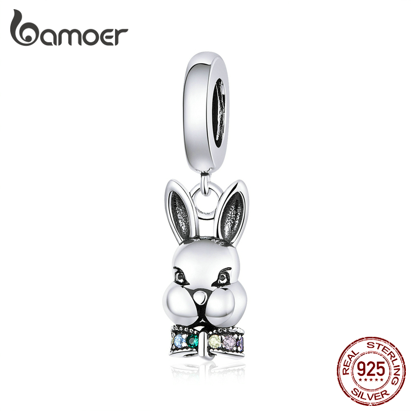 Bamoer Mr. Rabbit Pendant Charm For Bracelet 925 Sterling Silver Animal Metal Charms For Necklace Fashion DIY Jewelry BSC219