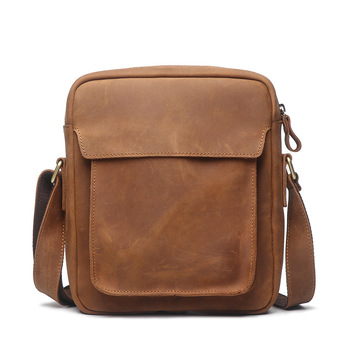 Genuine Leather Shoulder Bag Male Crazy Horse Brown  Leisure Business Vintage Crossbody Messenger Bags for Men Free Shipping
