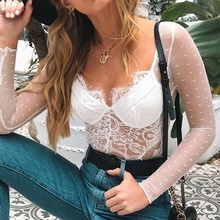 Summer bodysuit women clothes 2020 New Fashion Solid Lace transparent female jumpsuit sexy v neck bodysuit ropa mujer body mujer