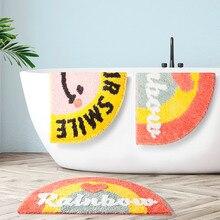 цена на Half Round Non-Slip Kitchen Bedroom Toilet Doormat Floor Rug Mat Non Slip Water Absorbent Washable Bath Mat Thick Plush Carpet