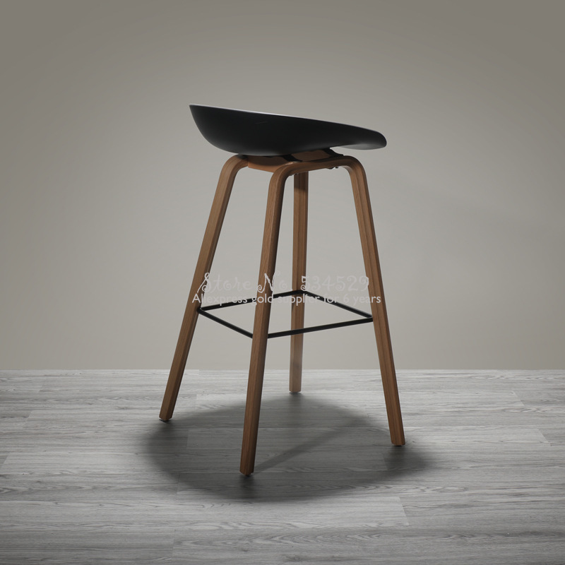 30%B Nordic Modern Minimalist Bar Chair Home Retro High Chair Solid Wood Rotating Bar Chair Back High Stool