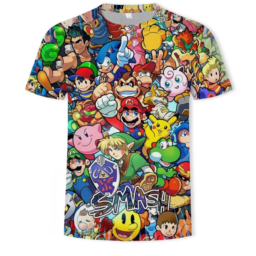 New Harajuku Classic games Super Mario Boys t shirt Super Smash Bros 3D print t-shirt hip hop tshirt streetwear off white tshirt
