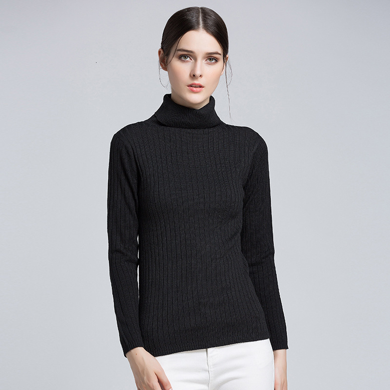 Autumn Winter Women Bottoming Sweater Turtleneck Long Sleeve Ladies Slim Pullovers Solid Female Knitting Jumper 2020 Pull Femme