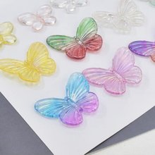 10 шт/лот прозрачные цветные акриловые подвески с милой бабочкой