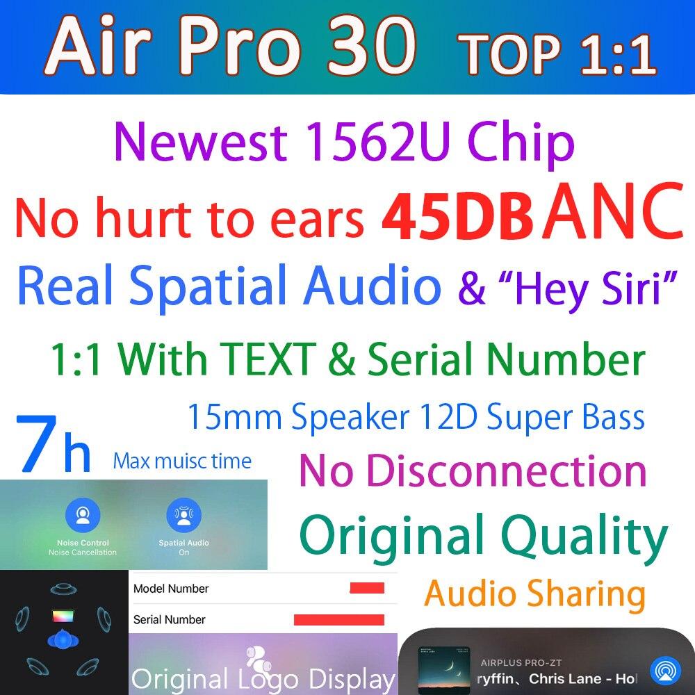 Оригинальные беспроводные наушники Air Pro 30 TWS 45DB ANC, Bluetooth наушники, пространственное аудио, шумоподавление, HD микрофон и светильник ности