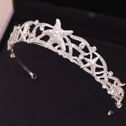 1pc New Sparkling Starfish Crystal Bridesmaid Bride Bridal Wedding Party Prom Princess Pageant Tiara Crown Fashion Hair Jewelry