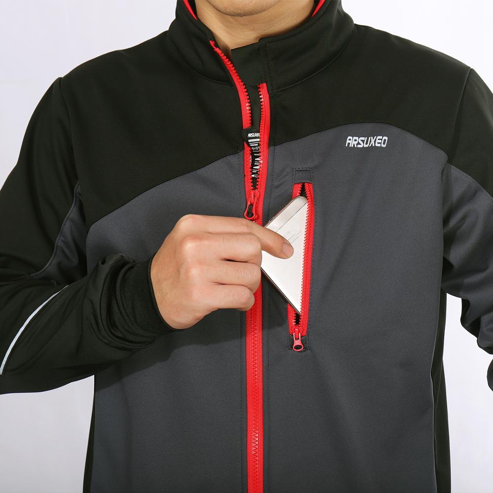 Купить с кэшбэком ARSUXEO Men Winter Cycling Jacket Thermal Fleece MTB Bike Jacket Windproof Waterproof Bicycle Sofeshell Coat Warm Reflective 17D