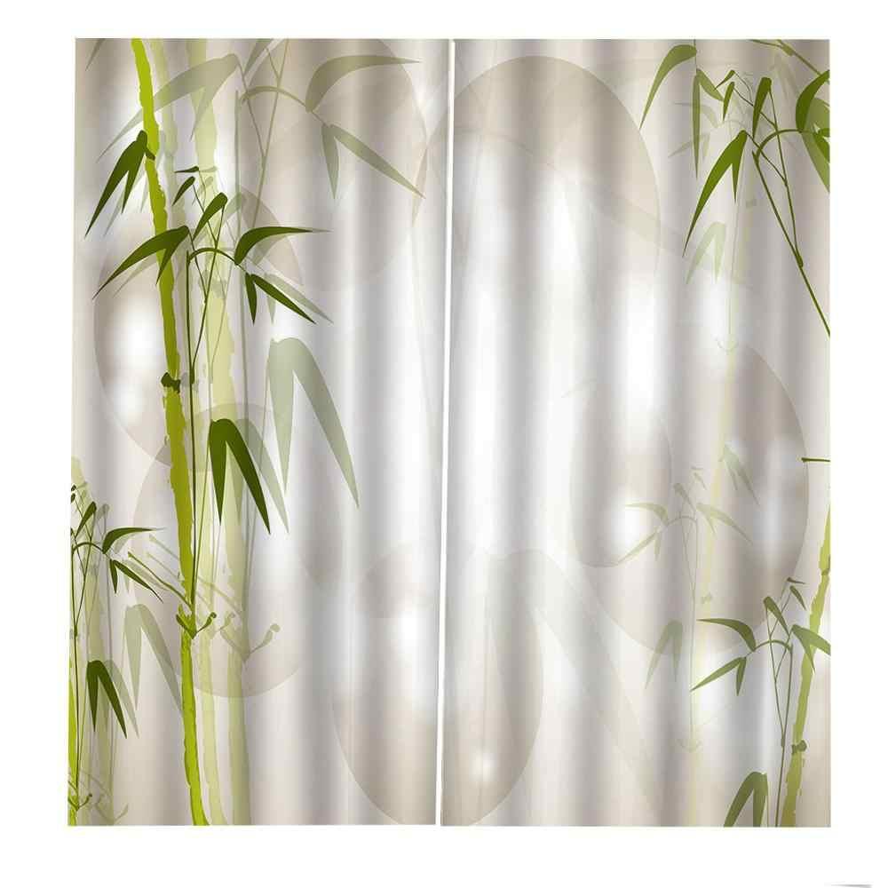 Rideaux frais décoration européenne 3D rideaux pour salon occultant vert bambou rideaux stéréoscopiques rideaux