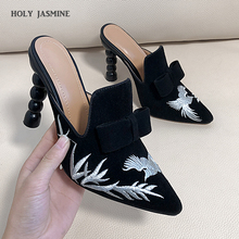 цена на 2020 Summer New Big Size 43 Sexy Pointed Toe Ankle Strap High Heels Sandals Platform Wedding slippers Shoes Woman ladies shoes