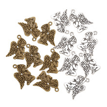 15 pçs/lote anjo de Prata Antigo Banhado Pulseiras Charme Pingentes Bijuterias Fazendo Descobertas Encantos DIY Handmade I228