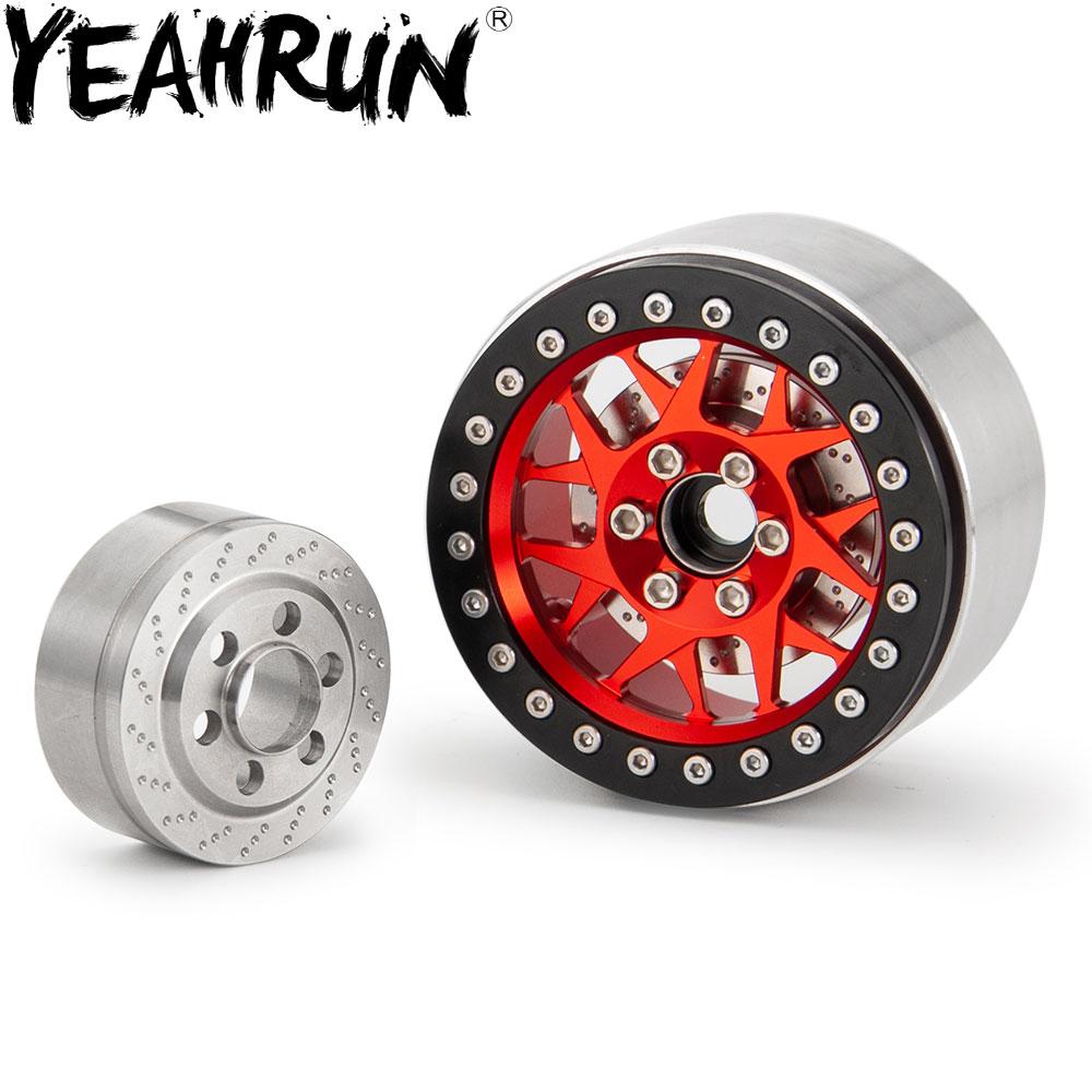 YEAHRUN 2.2 pouces en acier inoxydable jantes contrepoids pour TRX-4 SCX10 1/10 RC chenille voiture Hub
