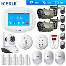 KERUI Wifi Home Alarm GSM TFT Farbe Display Einbrecher Sicherheit System Gas Sensor Wifi IP Kamera Rauch Sensor Motion Erkennung